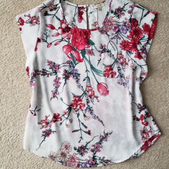 Lily White Tops Floral Blouse Poshmark